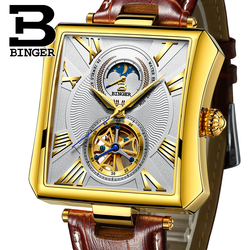 Rectangle Automatic Mechanical Watches BINGER Gold Luxury Business Watch Men Tourbillon skeleton Clock Moon phase Wrist watch relogio masculino tevise luxury brand watch men tourbillon automatic mechanical watches moon phase skeleton wrist watch clock