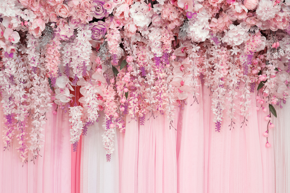HUAYI Photography Background pink Floral Backdrops Wedding
