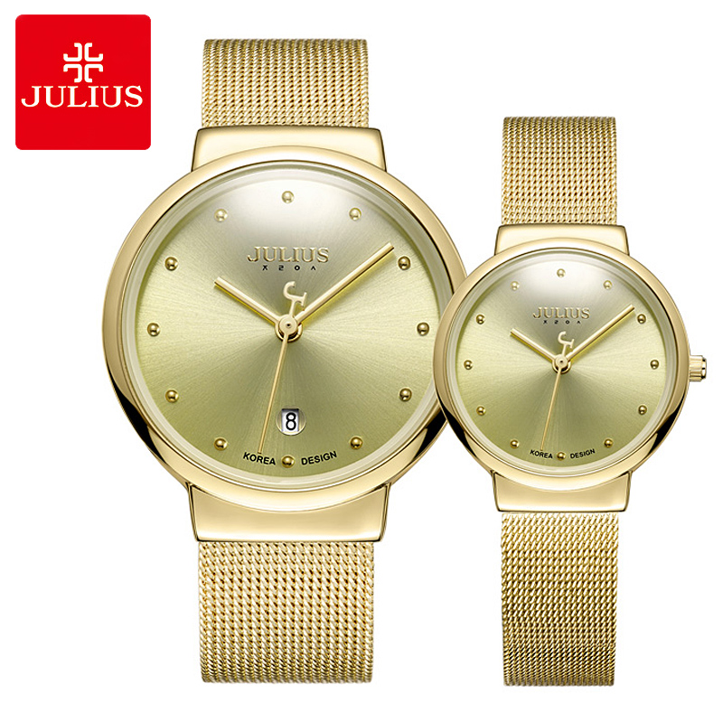 Thin Men's Watch Women's Watch Japan Quartz Couple Hours Fashion Gold Stainless Steel Bracelet Lover's Birthday Gift Julius Box