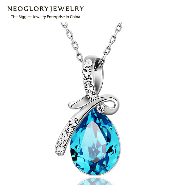 Neoglory Austrian Crystal Rhinestone Brand Charm Necklaces & Pendants Fashion Jewelry Birthday Gifts  2017 New JS11 B1