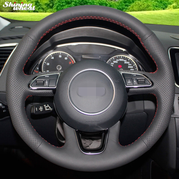 Shining wheat Hand-stitched Black Genuine Leather Car Steering Wheel Cover for Audi Q3 Q5 2013 2014 2015