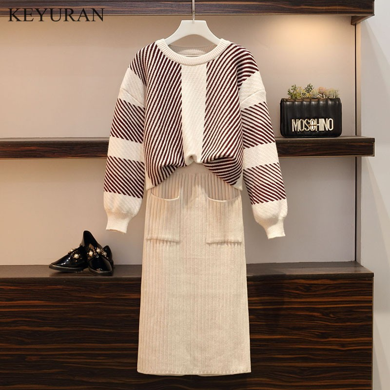 Plus Size New 2019 Spring Autumn Knitted Women Suit Pullover Loose Sweater + Pencil Skirts Sets for Woman Casual Two pieces Suit