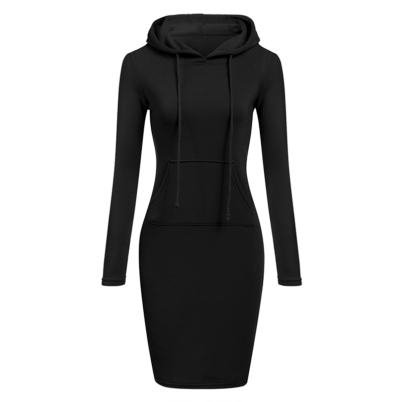 Autumn Winter Warm Sweatshirt Long-sleeved Dress Woman Clothing Hooded Collar Pocket Design Pullovers Simple Woman Dress 2019