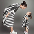 New Spring&Autumn Style Family Matching Outfits Mother and Daughter Baby Girls Fall Full Balck Striped Dress Free Shipping
