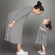 New Spring Autumn Style Family Matching Outfits Mother and Daughter Baby Girls Fall Full Balck Striped