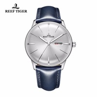 2020 New Reef Tiger/RT Mens Dress Watches Convex Lens White Dial Automatic Watches Blue Leather Band RGA8238