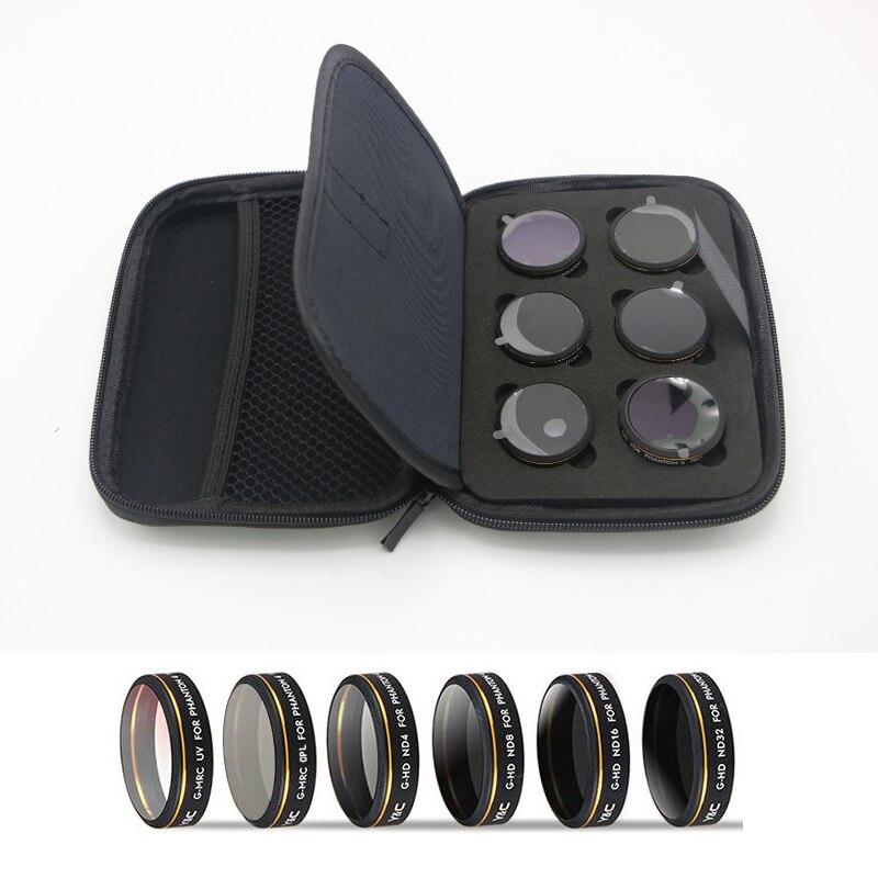 6pcs/set YC UV/CPL/ND4/8/16/32 Graduated HD Lens Filters for DJI Phantom 4 PRO Drone Quadcopter Accessories 6pcs set pgytech original lens filters for phantom 4 pro drone accessories g hd mcuv nd4 nd8 nd16 nd32 cpl hd filter