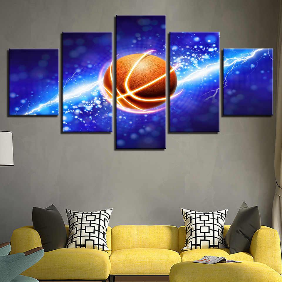 ציורי בד 5 piece מודרני תמונה קיר אמנות תמונה ספורט כדורסל לסלון בית תפאורה מוכן לתלות מסגרת