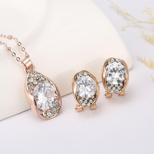 Beautiful Unique Design For Women with Cubic Zirconia Earrings Pendants Necklace