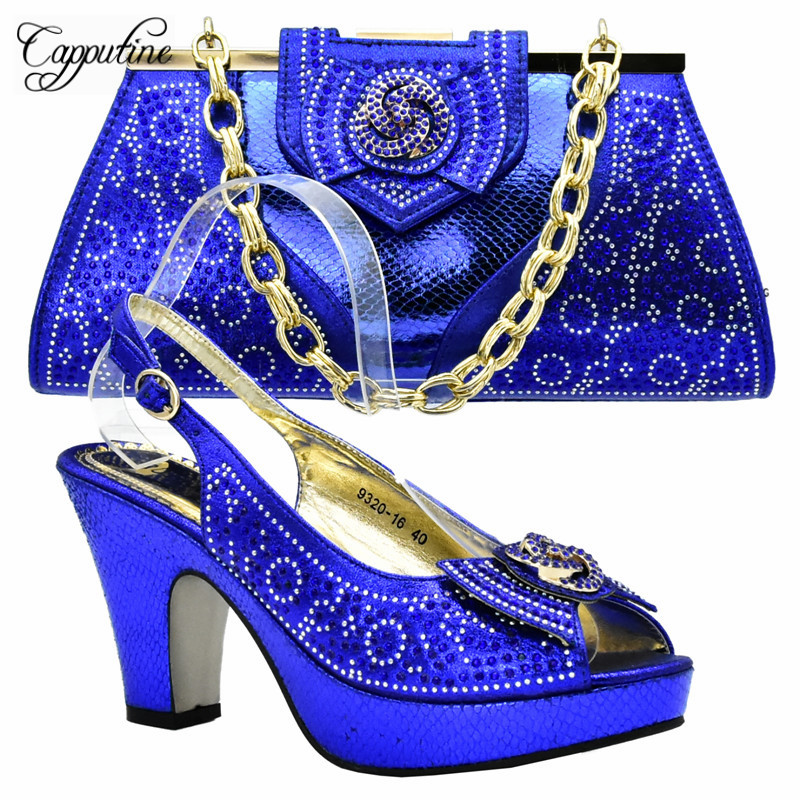 Capputine Royal Blue Shoes And Bag Sets For Women Italian Shoes With Matching Bags Set For Wedding African Party Shoes DF-033 african fashion shoes with matching bag set for wedding party italian design nigeria women pumps shoes and bags mm1060
