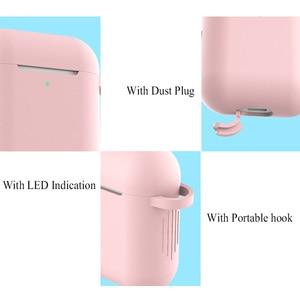 Image 5 - Funda de silicona para auriculares con bluetooth para apple airpods 2, accesorios para airpods 2, funda de silicona 1:1, funda protectora con llavero