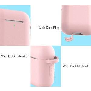 Image 5 - Silikon bluetooth kopfhörer fall für apple airpods 2 air pod zubehör 1:1 silikon fall cover schützende haut mit keychain