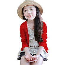 2018 Girls Cardigan Sweaters Spring Summer Solid Color Cotton Baby Girl Sweater Kids Knitted Clothing Cardigan Coats AA1687(China)