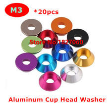 20pcs M3 Anodize Colorful Aluminum Alloy Cylinder Cup Head Cone Washer Model Car Gasket Washers 11 Colors(China)