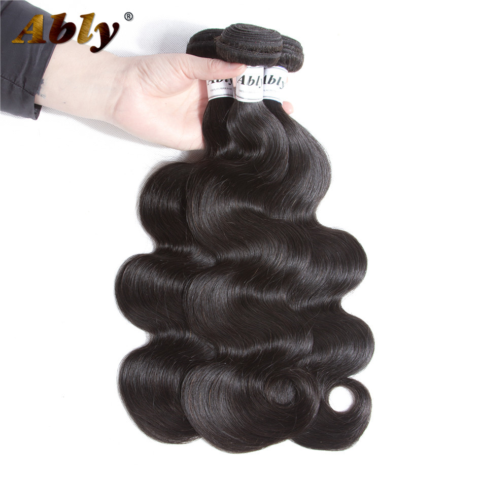 Malaysian Body Wave Human Hair 3 Bundles Ably 100% Remy Hair Weave Bundle Weft Extensions Natural Color Full And Soft Human Hair