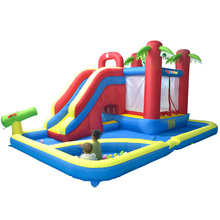 лучшая цена YARD Inflatable Slide Castle Jumping House Use 4.7*3.1*2.3M Water Trampoline For Children Inflatable Water Slide Bouncy Castle