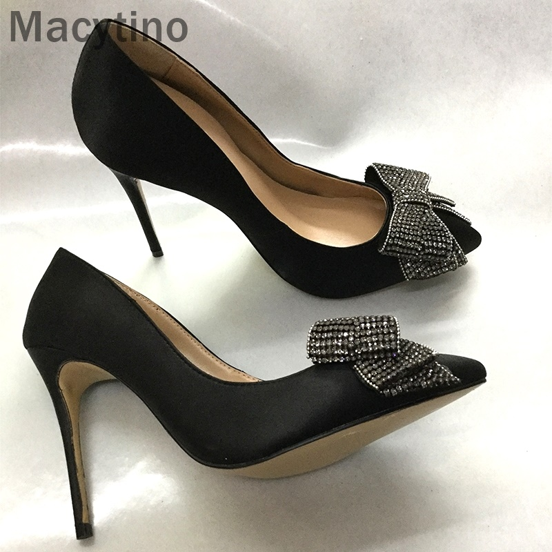 2d3e03ccd95c61 Pointu Bowtie Bureau Macytino À Hauts Chaussures Satin Pompes Bout Dames  Cristal Talons Diamant Femmes nqSfqx1