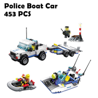 Compatible with lego Models building toy 52012 453pcs City Police Water Motor Boat Car Coastguard Building Blocks toys & hobbies