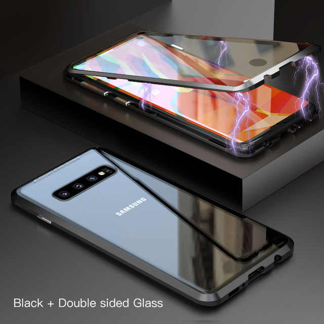 360 Degree Full Magnetic Case For Samsung Galaxy S8 S9 S10 Plus S10e Front Back Double Glass Glass Case Cover S10 Note 8 9 Case