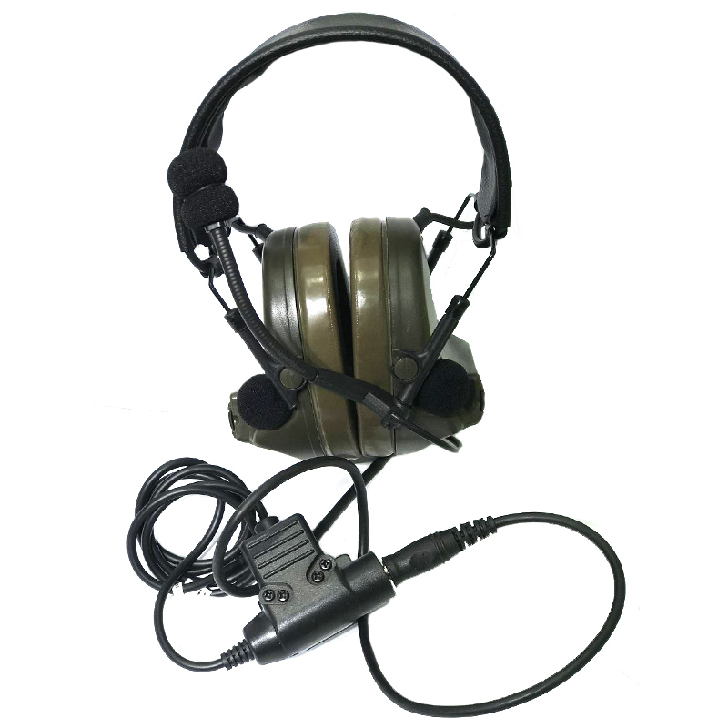 TAK YIYING Z Tactical Headset Headphone With U94 PTT Kenwood 2 Way Pin Comtac II Noise Reduction Headset Walkie Talkie Dual PTT
