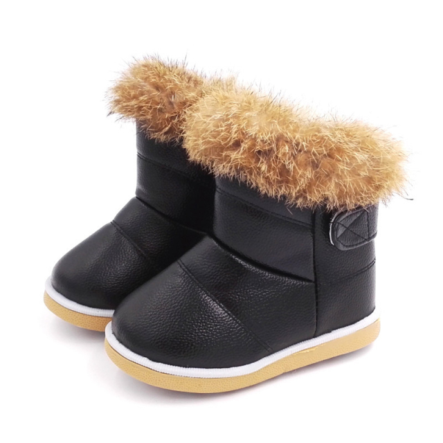 Baby Girls Snow Boots Rabbit Fur Warm Plush Cotton Shoes