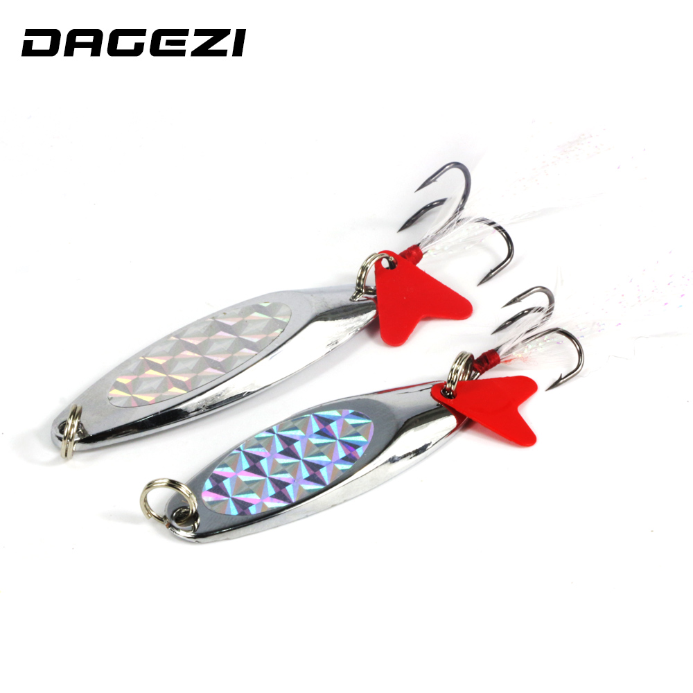 DAGEZI 15/20g Sequins Noise Paillette with Feather Treble Hook Metal Spinner Spoon Fishing Lure Hard Baits Fishing Tackle 10pcs box metal spoon fishing lure hooks spinner baits sequins hard artificial jigging lure kits isca fishing tackle accessories