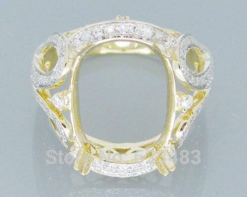 Coussin 12x15mm solide 14 k or jaune diamant naturel bague Semi-monture
