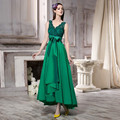 Vestidos de baile de long green party dress 2017 v-cuello sin mangas apliques sashes imperio de noche dress abiye gece elbisesi formal