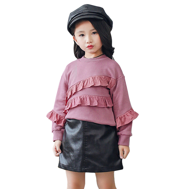 2018 Fashion Winter Faux Leather Skirt Age 3 10 Yrs Little Girls
