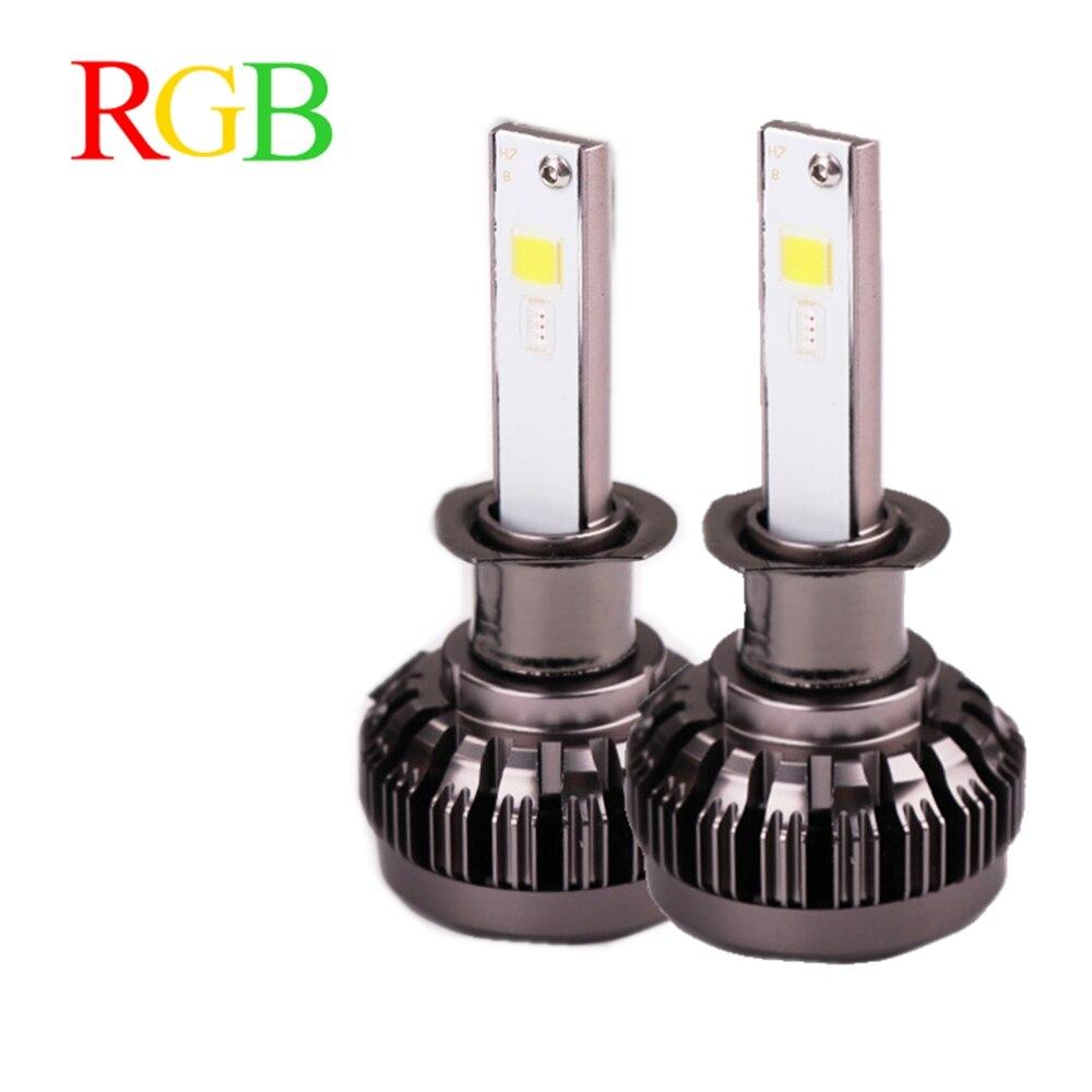 RGB car LED Headlight 40W 6000LM H1 H3 H4 H7 H8/H11 9005 9006 880 9012 5202 LED Bulbs APP Bluetooth Control Multi-color cnsunnylight car led headlight bulbs all in one h7 h11 h1 880 h3 9005 9006 9012 5202 72w 8500lm h4 h13 9007 high low beam lights