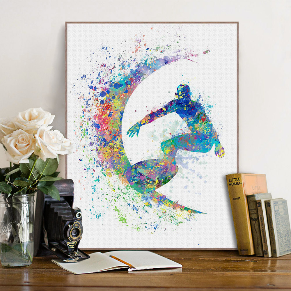 surf art promotion shop for promotional surf art on aliexpress com modern watercolor surfing a4 art print poster abstract sports man wall pictures canvas paintings boys room home decor no frame