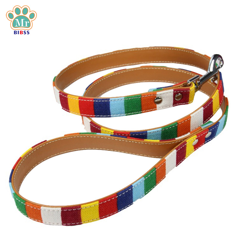 Rainbow Pattern Dog Leashes Soft PU Material Pet Harness Lead for Small Medium Dogs S M Size Drop Shipping