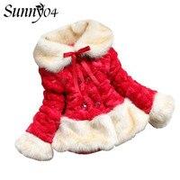 Odzież dla dzieci 2017 Nowa Zima Dziecko Faux Futro Pogrubienie watowe Dziewczyny Ciepła Kurtka Czerwony Beżowy Różowy Niemowląt Dzieci Outfit płaszcze