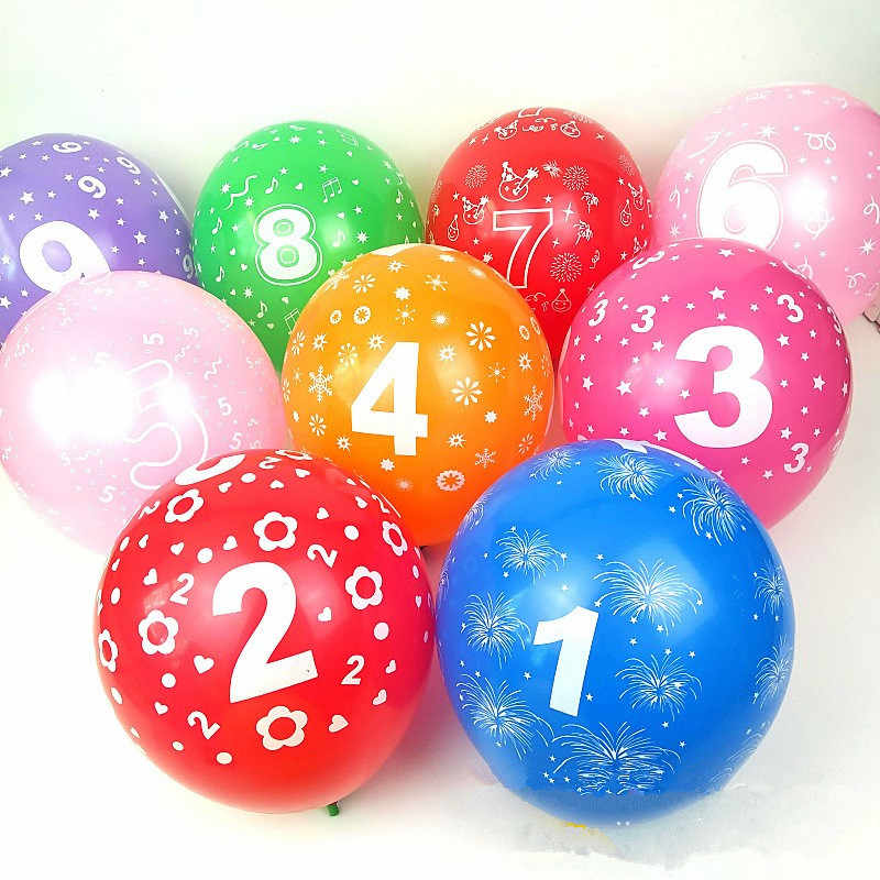 10pcs 12inch Number 0 1 2 3 4 5 6 7 8 9 Mix Colors Latex Balloons Digital Ballon Years Old Birthday Party Wedding Decoration toy