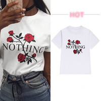 Nothing Letter Print Rose Harajuku T Shirt Women Casual Short Sleeve T Shirts Female Plus Size