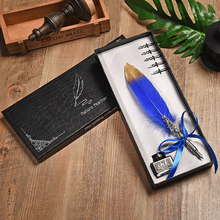 лучшая цена Retro Feather Fountain Pen Set Birthday Creative Gift Multicolor Feathers Dip Water Pen Set high-end gift box with 1 Ink+ 5 Nibs