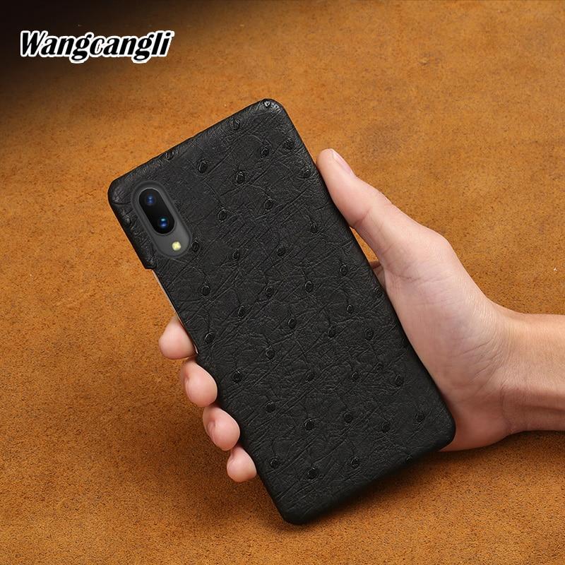 Wangcangli Genuine Leather phone case for VIVO X21 rare ostrich skin phone protection case for vivo x5 x6 x7 x9 x9s