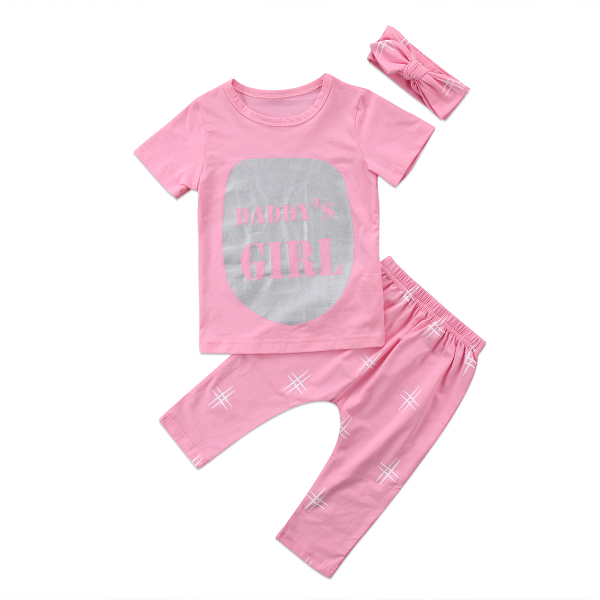 3Pcs Hot Sell Newborn Toddler Kid Baby Girls Clothes Bow +Pink Letter T-shirt Top+ Pink Long Pants Outfit Set 0-24M