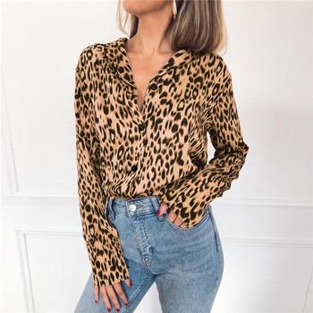 Women Blouses Autumn Vintage Leopard Blouse Long Sleeve Turn Down Collar Lady Office Shirt Loose Tops Plus Size Blusas Chemisier 5