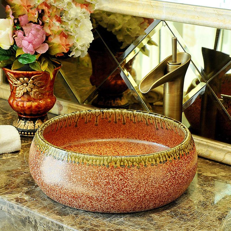 China Artistic Porcelain Handmade Porcelain Lavabo Bathroom Vessel Sinks ceramic wash basin porcelain basin sink (3)