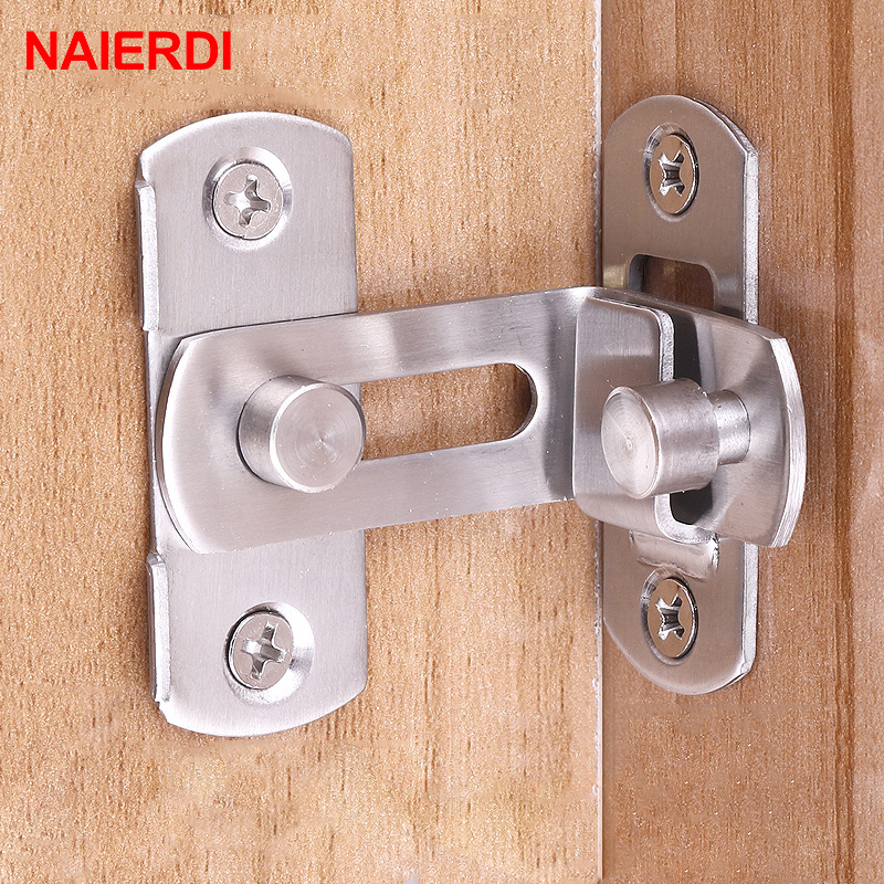 NAIERDI 90 Degree Hasp Latches Stainless Steel Sliding Door Chain Locks Security Tools Hardware For Window Cabinet Hotel Home