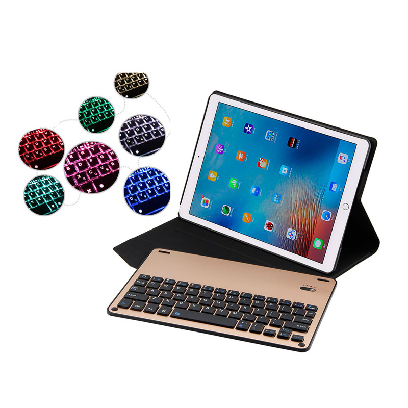 Smart Case for iPad Pro 10.5 7 Colors Backlit Light Wireless Bluetooth Keyboard Case Cover for iPad Pro 10.5 Flip Leather Stand aluminum keyboard cover case with 7 colors backlight backlit wireless bluetooth keyboard