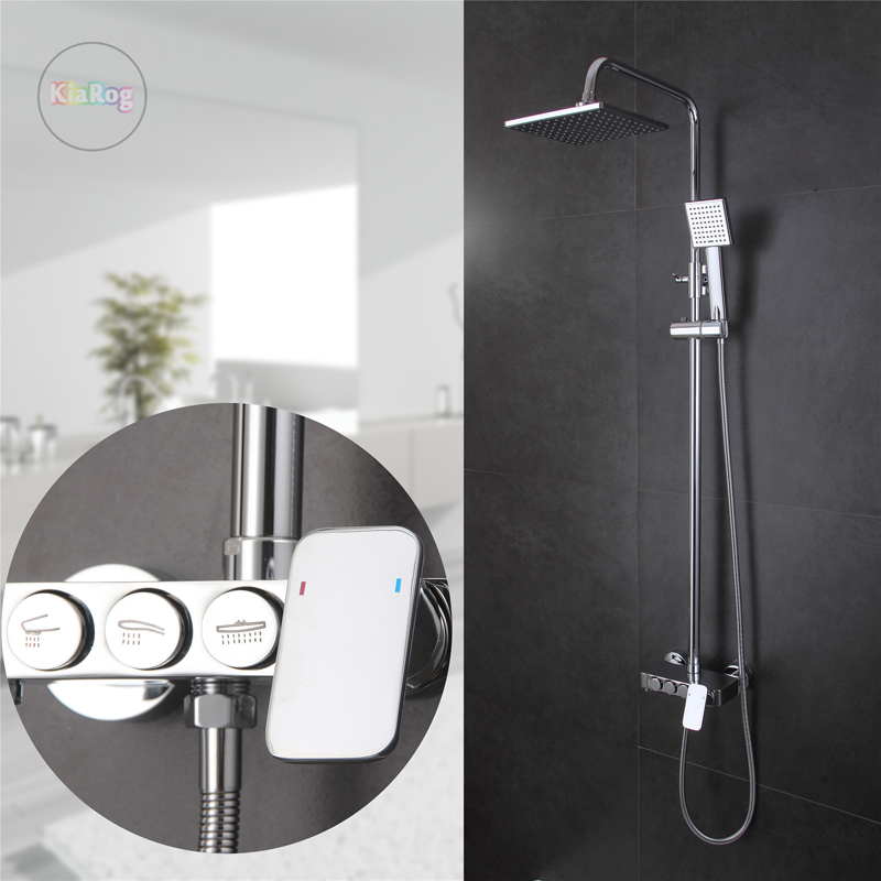 New design bathroom shower set with 8 Ultrathin showerhead.Brass chrome wall mounted shower faucet.Bathtub Mixer Tap