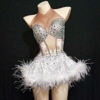 Glisten Slilver Crystal White Feather Dress Women Birthday Celebrate Mine Dress Nightclub Party Singer Costume Dance Show Wear