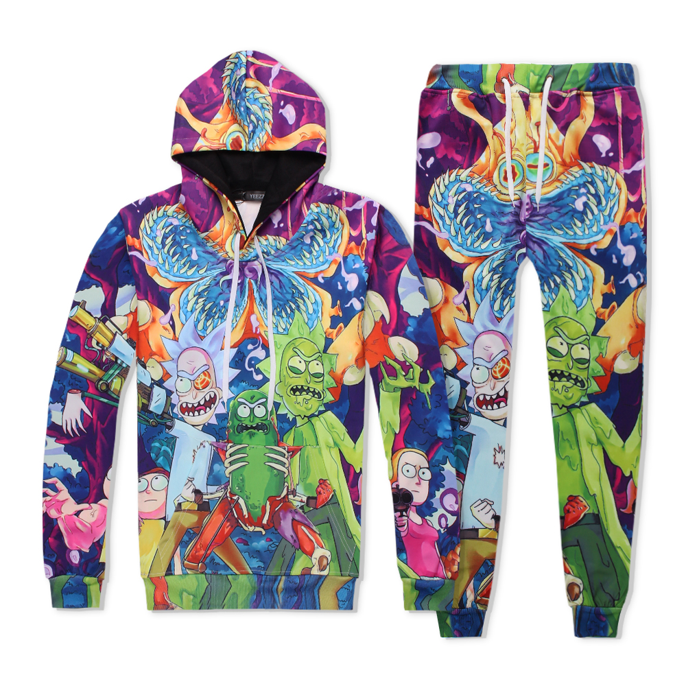 PLstar Cosmos Man-eater flower Rick & Morty funny sweats tracksuit men women winter casual clother 3d hoody&pants 2 pieces