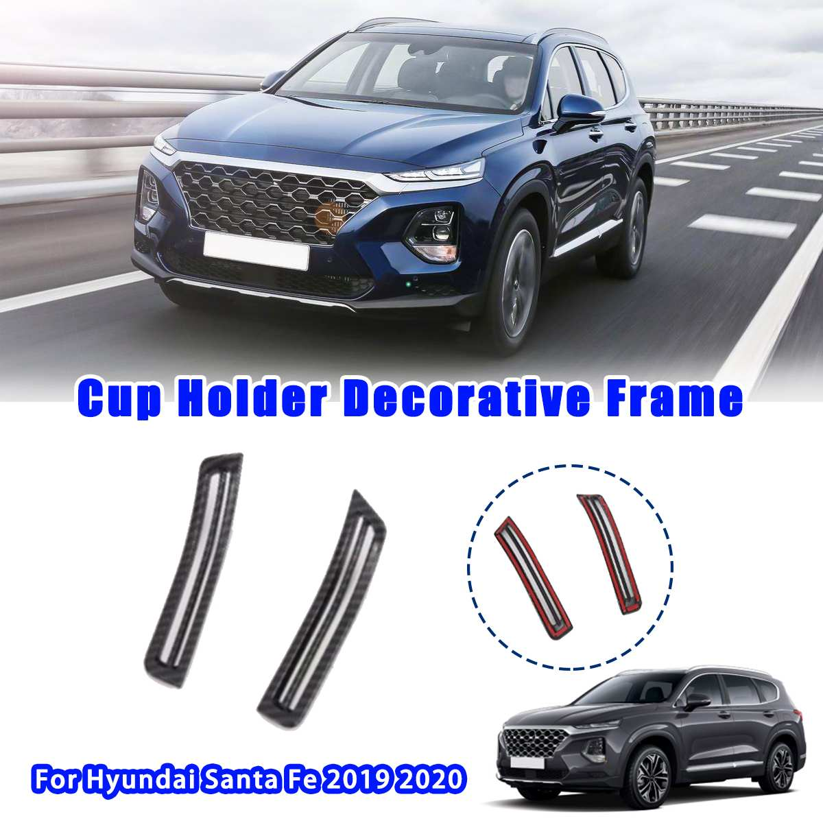 2x Car Interior Left Right Side Air Conditioning Vent Cover Sticker Trim Styling Accessories For Hyundai Santa Fe 2019 2020
