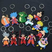 1PCS Cartoon Character Dragon Ball Keychain PVC Anime Figure Goku Vegeta Key Chain Double Side Ring Kids Trinket Holder