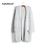 Kakaforsa Casual Knitting Long Cardigan Female Loose Solid Knitted Sweaters Women Winter Warm Long Sleeve Cardigans