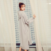 yomrzl A563 Spring and autumn cotton women's nightgown solid color one piece sleep dress long sleep simple home style sleepwear