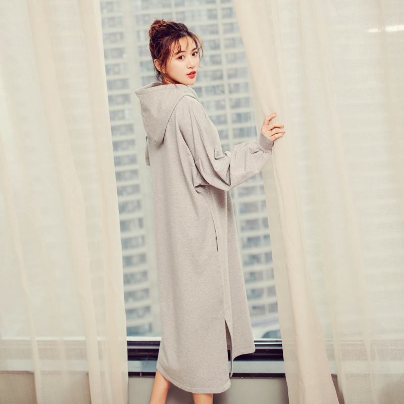 yomrzl A563 Spring and autumn cotton womens nightgown solid color one piece sleep dress long sleep simple home style sleepwear